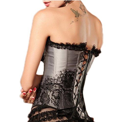 mywy - Bustino stringivita corsetto top bustier argento pizzo nero corpetto corpino sexy Argento
