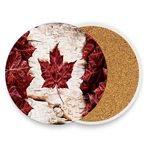 Untersetzer mit Kanada-Flagge, Ahornblätter, weiße Birke, rund, saugfähig, Keramik, Steine, Kaffeetassen, Set für Zuhause, Büro, Bar, Küche (1 Stück), keramik, multi, 4er-Set -