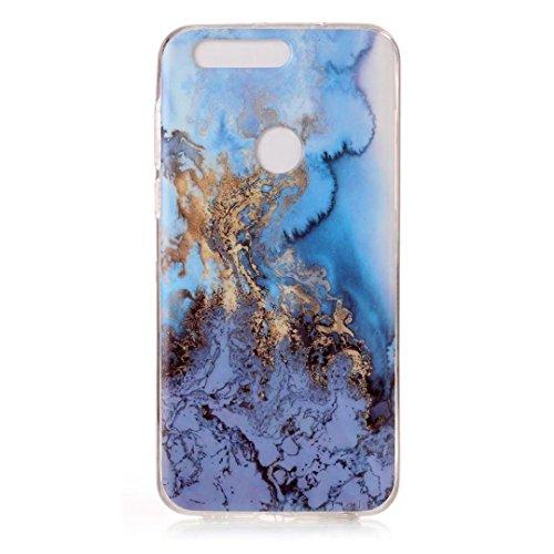 cover Huawei P8LITE 2017.Marmo verde DECHYI serie Custodia case è Huawei P8LITE 2017. Alta sottile trasparente silicone morbido Custodia TPU. verde+ Stilo capacitivo Sea water blue