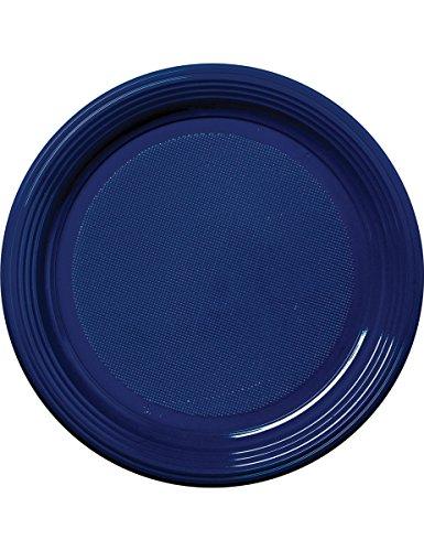 30 Assiettes en plastique bleu marine 22 cm - taille - Taille Unique - 235334