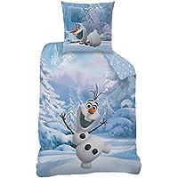 Disney Frozen 043692 Snowman Bettwäsche, Baumwolle, blau, 135 x 200 + 80 x 80 cm