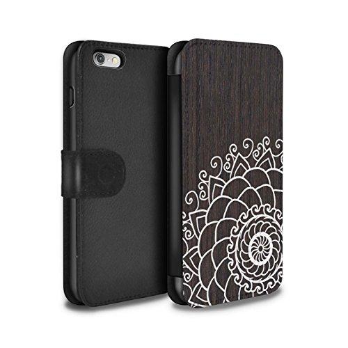 STUFF4 PU-Leder Hülle/Case/Tasche/Cover für Apple iPhone 7 / Mandala Muster / Fein Spitzenborte Holz Kollektion Henna