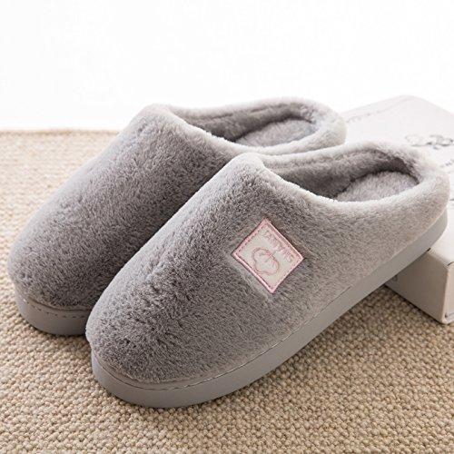 DogHaccd pantofole,In inverno il cotone pantofole borsette con coppie di spessore pantofole di peluche home home non - slip caldo pantofole maschio Grigio chiaro