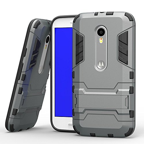 CASSIEY (TM) Tough Heavy Duty Shockproof Military Grade Armor Defender Series Dual Protection Layer Hybrid TPU + PC Kickstand Back Case Cover for Morotola Moto G3 (3rd Generation) - Silver