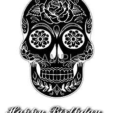 Unique Wooden skull steam punk Gothic crown biker tattoo Birthday Greetings card A6