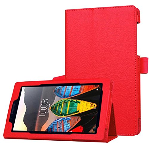 MuSheng(TM) Ultra Slim Flip Floding Leather Case Stand Cover For Lenovo Tab3 7 Essential(710F) (Red)