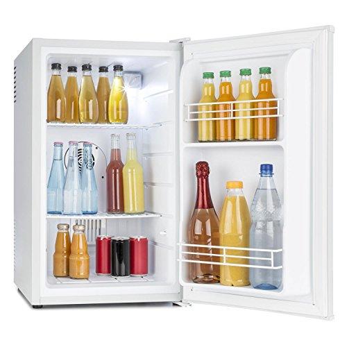 Klarstein • MKS-6 • Minibar • Mini-Kühlschrank • Getränkekühlschrank • A • 66 Liter Volumen • leiser Betrieb • 30 dB • ca. 43 x 72,5 x 51,5 cm (BxHxT) • 2 Regaleinschübe • Seitenfächer für Flaschen • 3-stufiger Temperaturregler • matt-weißes Gehäuse • weiß