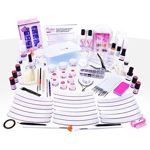 Ocibel - Kit XXL Manucure Faux Ongles Lampe LED/UV Gel Monophase & 7 Gels Couleurs & 5 VSP - Manucure, Faux Ongles et Nail Art
