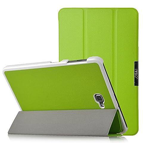 IVSO® Ultra Schlank Ständer Slim Leder zubehör Schutzhülle mit Automatischem Schlaf Funktion für Samsung Galaxy Tab A 10.1 Zoll Wi-Fi/ LTE (2016) SM-T580N/SM-T585N Tablet-PC perfekt geeignet,Grün