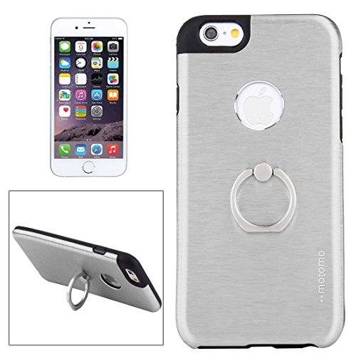 Phone case & Hülle Für iPhone 6 / 6s, Brushed Texture Metal + TPU Schutzhülle mit Ringhalter Stand ( Color : Silver ) Silver