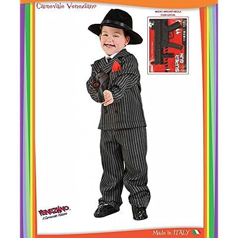 COSTUME CARNEVALE GANGSTER BABY vestito bambino ragazzo 1-6 Anni travestimento veneziano halloween cosplay festa party (Nero Gessato Camicia)