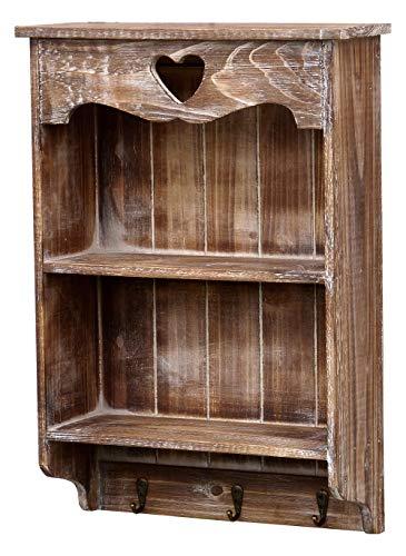 more-decor-de Wundervolles Wandregal Küchenregal Wandgarderobe Garderobe aus Holz mit 3 Haken und Herz im Landhaus Shabby Chic Vintage Stil - Braun -