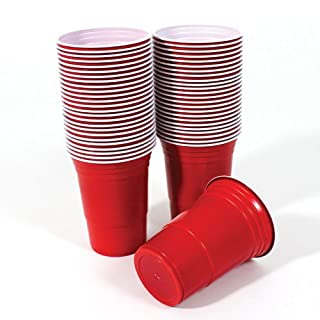 PACK OF 50 AMERICAN 16OZ (455ml) PLASTIC RED PARTY CUPS BEER PONG - DISPOSABLE DRINKING CUPS- MADE FROM STURDY PLASTIC