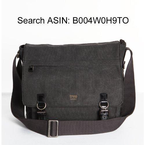 Handbag Queen UK TRP0207 - Borsa a tracolla in tela unisex e portacomputer Troop London, con 2 fibbie, colore: Marrone Marrone