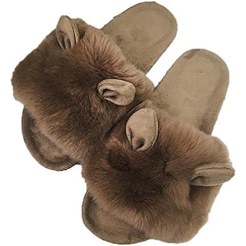 TDXIE Donne un piatto piatto pantofole in lana pelliccia di coniglio aprire toe foderati calde pantofole scarpe da casa , black , 34