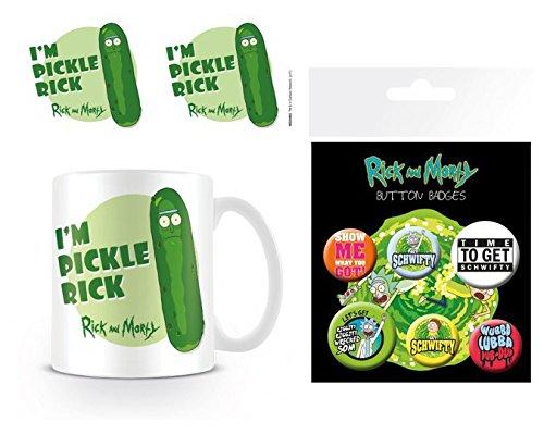 Set: Rick Y Morty, Yo Soy Rickinillo, Pickle Rick Taza Foto (9x8 cm) Y 1 Rick Y Morty, Set De Chapas (15x10 cm)