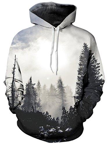 Bfustyle Unisex 3D gedruckt Hoodie Langarm Lustige Weihnachten Wald gemusterten Sweatshirts mit großen Tasche