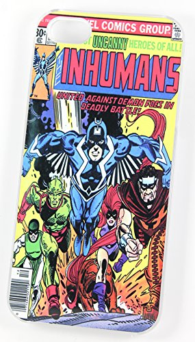 Les Inhumains DC Super Héros Marvel Comic Cover (Coque rigide en plastique pour iPhone 5/5S Transparent/Vintage
