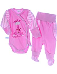 La Bortini Body /& Hose mit F/ü/ßchen Baby Set Wickelbody mit Kratzschutz Umschlag/ärmel Schlupfhose 50 56 62 68 74 80 86 92 Rosa mit Motiv