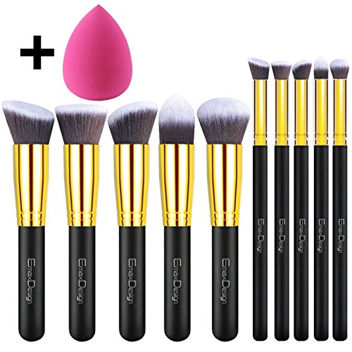 emaxdesign-11-make-up-pinselsets-10-stuck-gold-schwarz-professionell-premium-synthetisch-kabuki-grun