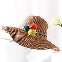 ZXCVBM New Girl Summer Cappello di Paglia per Le Donne Estate Femminile Big  Brim Sun Hat db0bdec3abd1