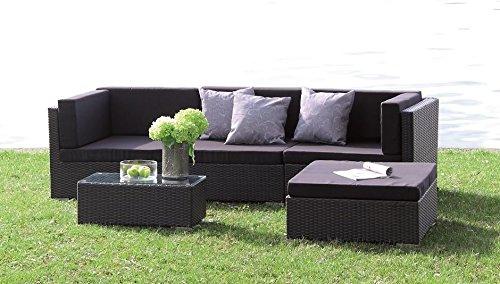 Poly Rattan Lounge Set 'Kampen' absolut wetterfest - variable Liegefläche, mit wasserabweisenden Kissen von Forma Outdoor Living