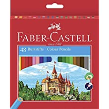 Faber-Castell 120148 Environmentally-Friendly Colouring Pencils 48-Pack Sharpener Cardboard Box Castle