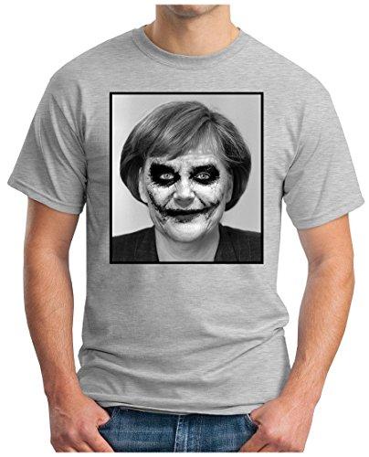 OM3 - JOKER-ANGIE - T-Shirt EURO Mutti Wir Schaffen Das Deutschland Flüchtlinge Dark Knight Parodie Fun, S - 5XL Grau Meliert