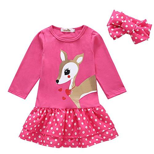 Kleid Hemd Kinder Sweatshirt Kleid,Cinnamon Baby Mädchen Kinder Kleidung Langarm Cartoon Hirsch Tops Kleinkind T-Shirt Kleid Set