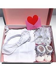 SHISHANG Set de cadeaux pour bébés Boîte cadeau Boy Girl Cadeaux pour bébés pour 0-9 mois Nouveau-né 100% coton Four Seasons Gift Bag Full Moon Gift Box White Pink , A