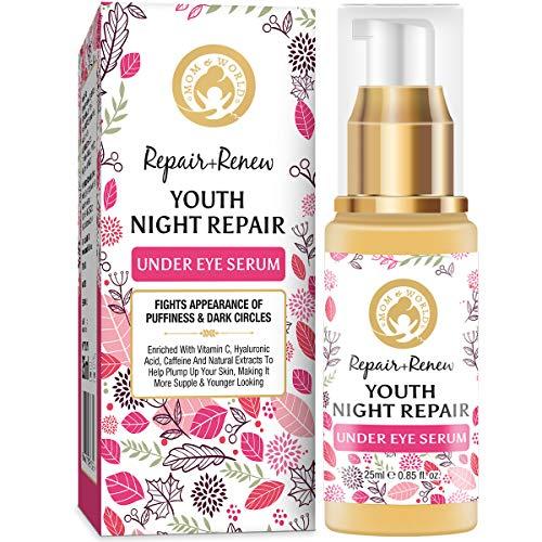 Mom & World Repair + Renew Youth Night Repair Under Eye Serum, 25ml – With Vitamin C, Caffeine, Hyaluronic Acid for Under Eye Skin Repair and Dark Circles