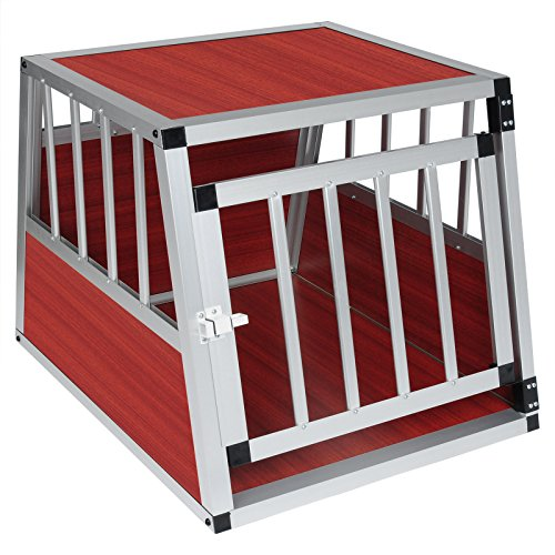Woltu ht2060dc gabbia animali auto casse box per viaggio in alluminio e mdf trasportino per cane conigli parete smontabile venatura scuro di legno 69x54x51cm