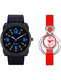SVM VL32VT14 New Couple Combo Designer Stylish Leather & Plastic Belt Analog Watch For Men & Women