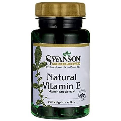 Swanson - Vitamine E (100% Naturelle) 400 UI, 100 gélules - Acétate de D-Alpha Tocophérol - Santé Cardiovasculaire, Peau, Tissus & Vaisseaux Sanguins - Complément Alimentaire Bio-Actif (Natural Vitamin E softgels capsules - Supplement from D-Alpha Tocopheryl Acetate)