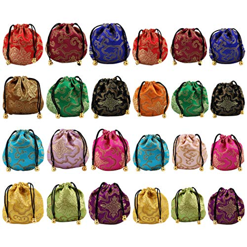 Faylapa 24 Pcs Silk Brocade Jewelry Pouch Bag,Drawstring Coin  Purse,Multiple Colour Gift Bags,Random Color