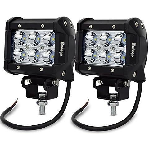 Safego C18W-BH-SP-2 2X 18W Led Lampes De Travail Lampes De Brouillard Spot Projecteur Led Véhicule Phare Bar Pour Tout-Terrain Chantier Suv Atv Camions Hors Route Bateau Camions De