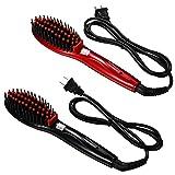 JewelryWe 2 Stück Glättbürste Haarglätter Stylingbürste Warmluftbürste Keramik Haarglättungsbürste geeignet für alle Haartypen Haarglättungs bürste Elektrisch Haarbürste Glätteisen Bürste (Rot+Schwarz)