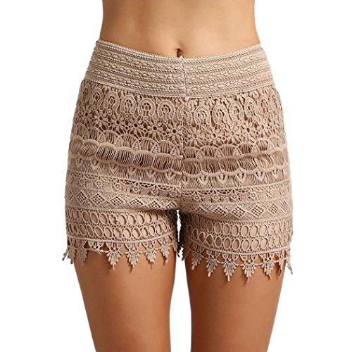 Damen Sommer Hoch Taillierte Hot Pants Spitzen Shorts Frauen Beach Kurze Hose