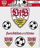 Herma 1992 Selbstklebende Fensterbilder Ohne Klebstoff, Fussball Bundesliga Verein Vfb Stuttgart, Motiv logo mit 3 Bällen sichtbar von innen und Außen