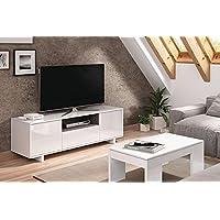 SERMAHOME Mueble de Comedor y Salón Bajo TV modelo Zoido. Color Blanco Brillo/Gris Ceniza. Medidas: 150 cm ancho x 46 cm alto x 41 cm fondo.