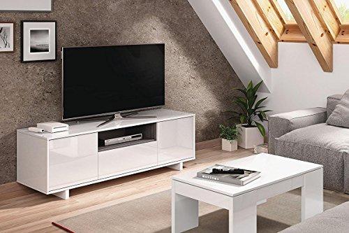 SERMAHOME Mobile da pranzo e salotto basso TV modello zoido. Colore: Bianco  lucido/Grigio cenere.