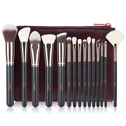 Make-up Pinsel MSQ 15pcs Pro Roségold Make-up Pinsel Set mit Tasche & Natural Hair (Foundation...
