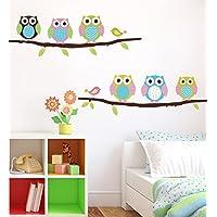 ufengke® Gufi Cartoni Animati e Gli Uccelli Adesivi Murali, Camera dei Bambini Vivai Adesivi da Parete Removibili/Stickers Murali/Decorazione Murale