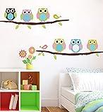 ufengke® Cartoon Eulen und Vögel Wandsticker, Kinderzimmer Babyzimmer Entfernbare Wandtattoos Wandbilder