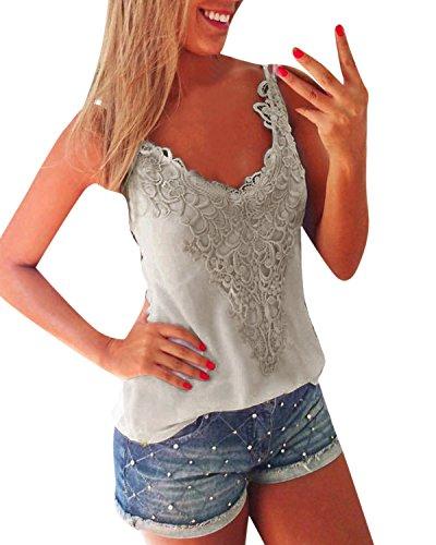 ZANZEA Damen Ärmellos Spitze V-Ausschnitt T-shirt Tank Tops Weste Vest Bluse Grau EU 46/Etikettgröße 2XL (Shirt Ärmelloses Tank-top Weißes)