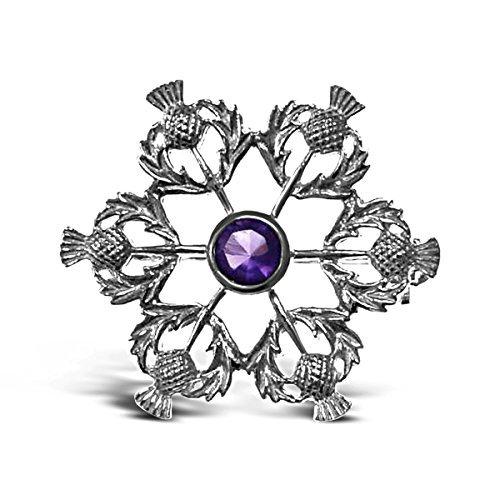 Sterling Silber Distel Brosche-Schottische Pin National Silver Thistle