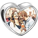 SOUFEEL Charm de Foto Personalizsdos Plata de Ley Abalorio Diamente de Swarovski para Pulsera o Collar en Forma de Corazón para Pulsera Europea Regalo para el Día Mamá o Anviersario