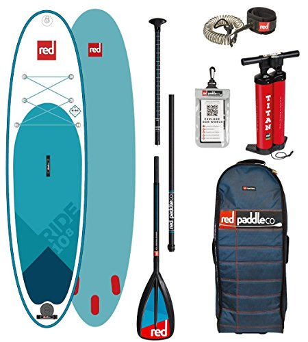 Red Paddle Co 10.8' Ride MSL Set Package Stand up Paddle Sup Board aufblasbar Paddel Pumpe Leash (10.8 Board+Leash+Glass Nylon Paddel)