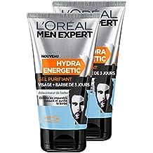 L'Oréal Men Expert Gel facial purificante Hydra Energetic X barba del hombre 3 Días 150 ml - Lote de 2