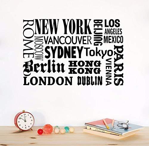 (Pbldb 60X40 Cm New York London Paris Zitat Wandaufkleber World City Names Vinyl Wandtattoo Kunst Diy Home Office Dekoration)